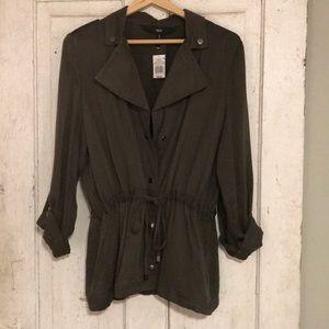 Mossimo Olive Drawstring Zip Up Jacket - Size L